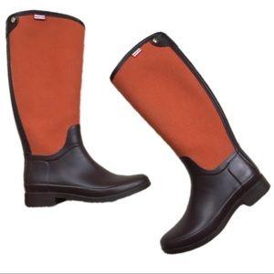 NWT HUNTER Bessy Fabric Rubber Zipper Rain Boots 9